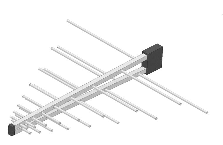 図1. ログペリオディックアンテナ解析モデル